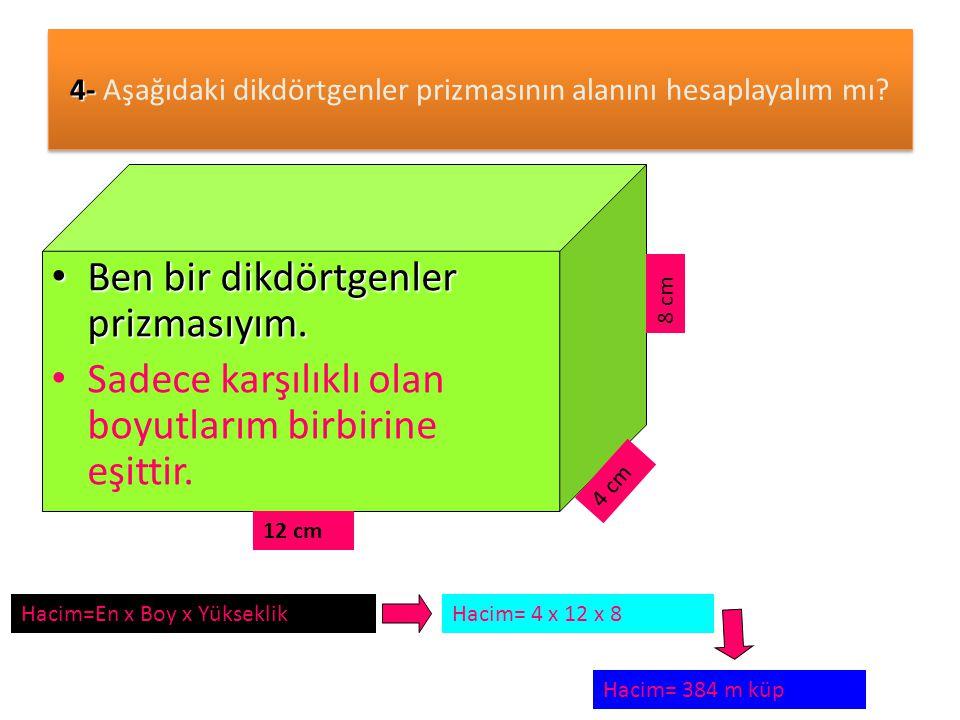 4- Aşağıdaki dikdörtgenler prizmasının alanını hesaplayalım mı