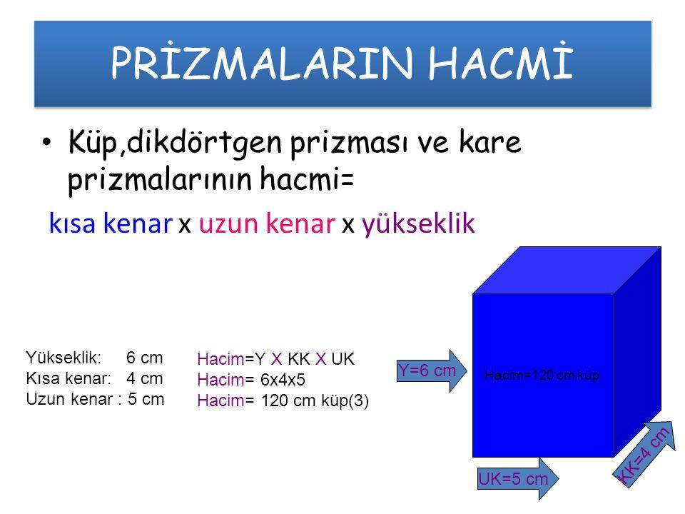PRİZMALARIN HACMİ Küp,dikdörtgen prizması ve kare prizmalarının hacmi=