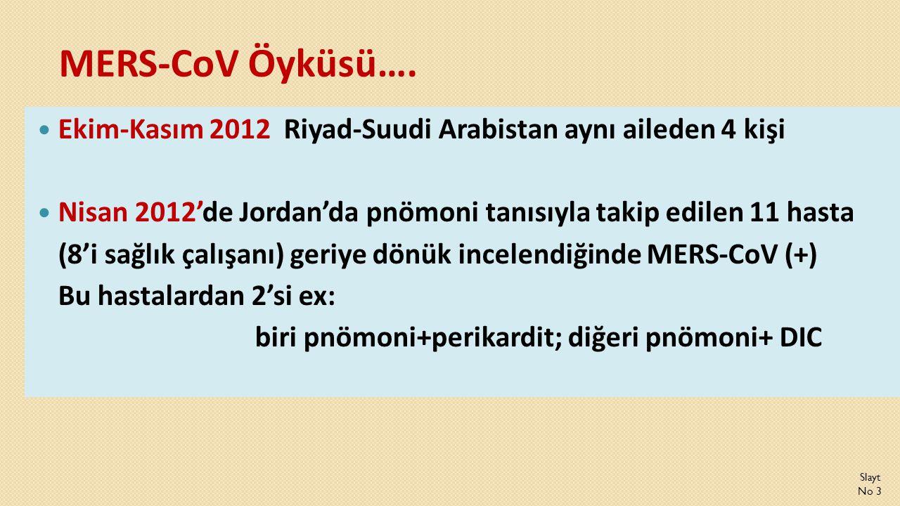 MERS-CoV Öyküsü…. Ekim-Kasım 2012 Riyad-Suudi Arabistan aynı aileden 4 kişi. Nisan 2012'de Jordan'da pnömoni tanısıyla takip edilen 11 hasta.