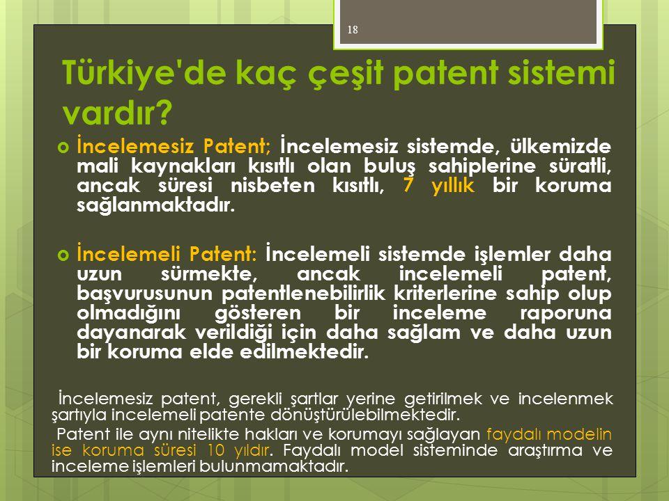 Türkiye de kaç çeşit patent sistemi vardır