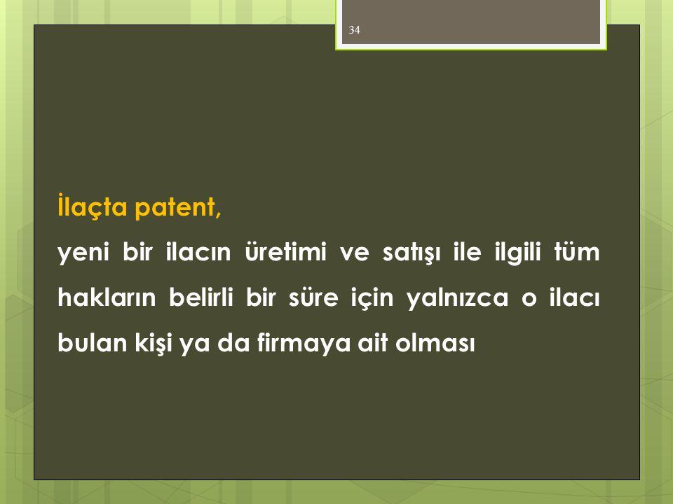 İlaçta patent, yeni bir ilacın üretimi ve satışı ile ilgili tüm hakların belirli bir süre için yalnızca o ilacı bulan kişi ya da firmaya ait olması.