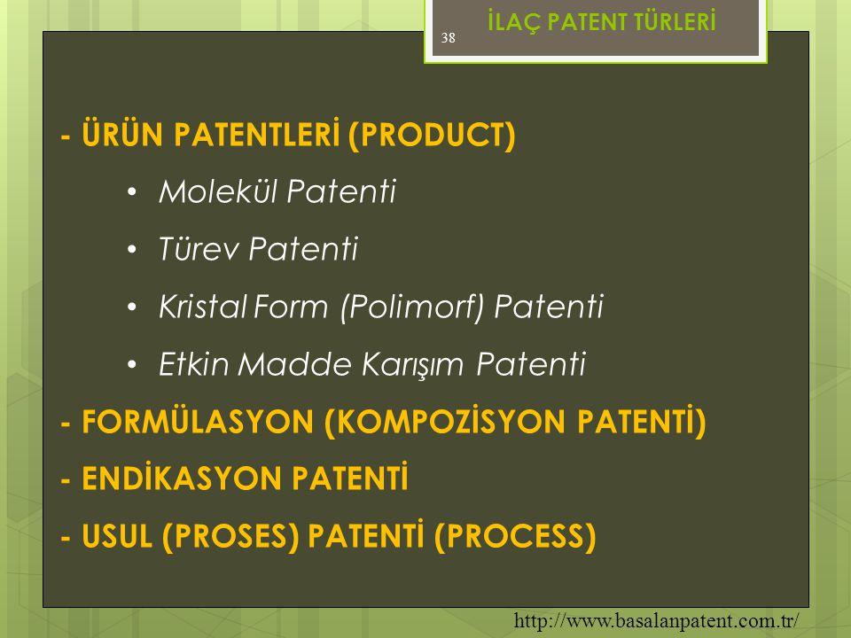 - ÜRÜN PATENTLERİ (PRODUCT) Molekül Patenti Türev Patenti
