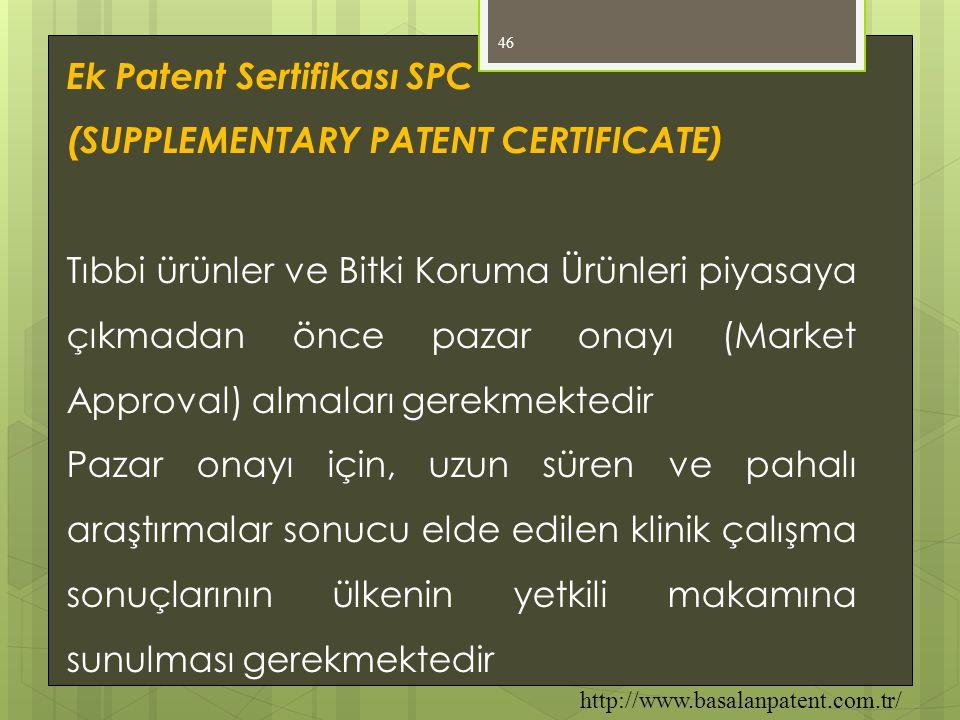 Ek Patent Sertifikası SPC (SUPPLEMENTARY PATENT CERTIFICATE)