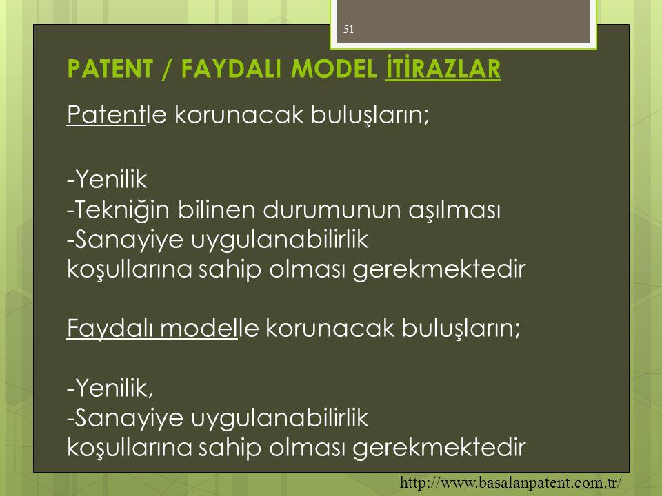 PATENT / FAYDALI MODEL İTİRAZLAR