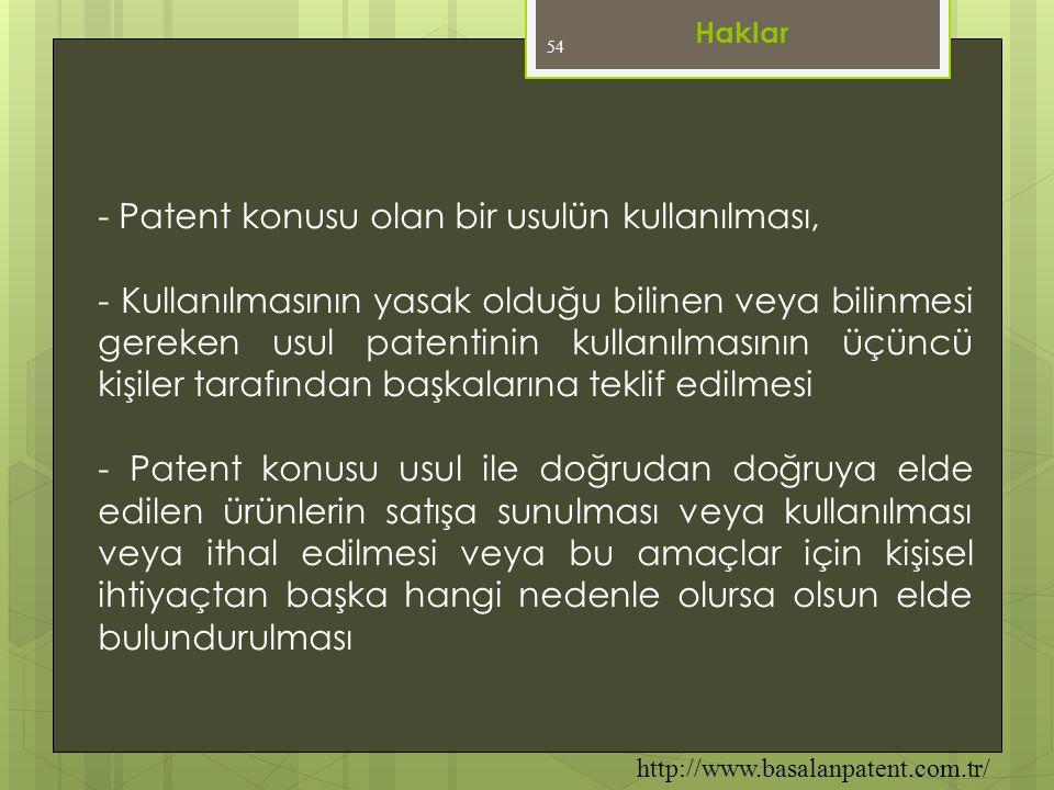 - Patent konusu olan bir usulün kullanılması,