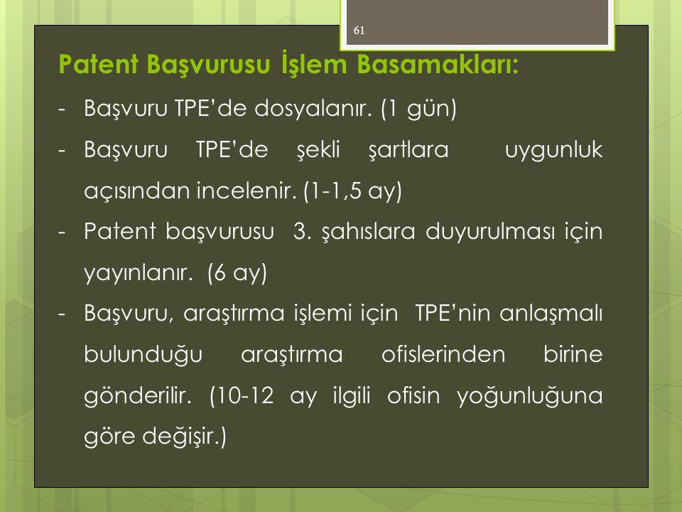 Patent Başvurusu İşlem Basamakları: