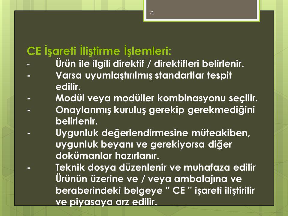CE İşareti İliştirme İşlemleri: -