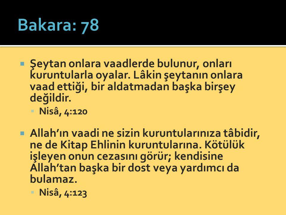 Bakara: 78 Şeytan onlara vaadlerde bulunur, onları kuruntularla oyalar. Lâkin şeytanın onlara vaad ettiği, bir aldatmadan başka birşey değildir.