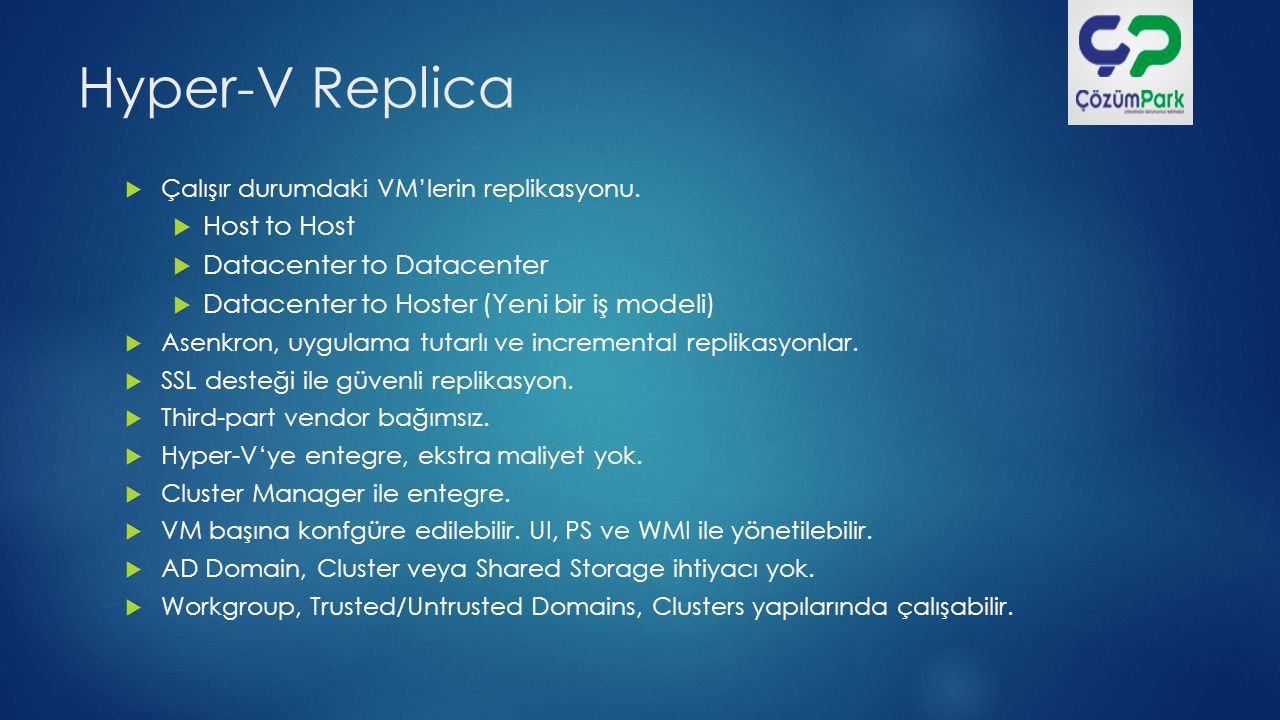 Hyper-V Replica Host to Host Datacenter to Datacenter