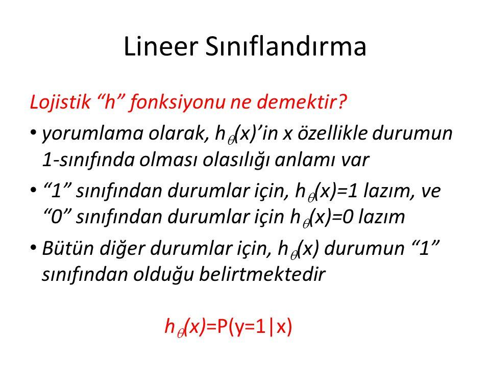 Lineer Sınıflandırma Lojistik h fonksiyonu ne demektir
