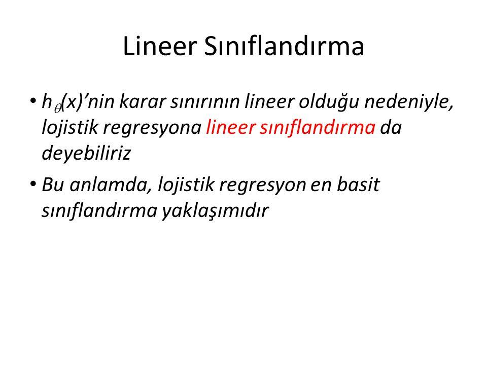 Lineer Sınıflandırma h(x)'nin karar sınırının lineer olduğu nedeniyle, lojistik regresyona lineer sınıflandırma da deyebiliriz.