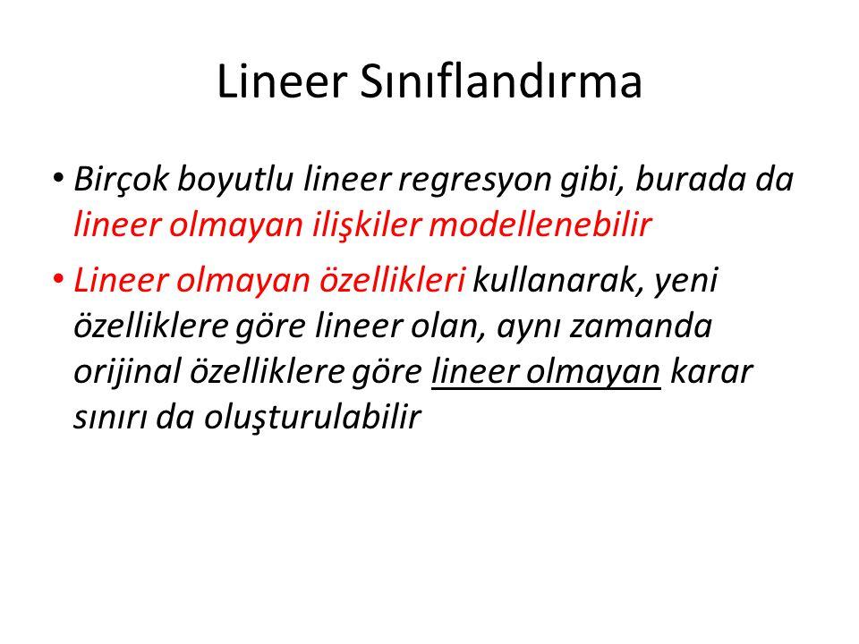 Lineer Sınıflandırma Birçok boyutlu lineer regresyon gibi, burada da lineer olmayan ilişkiler modellenebilir.
