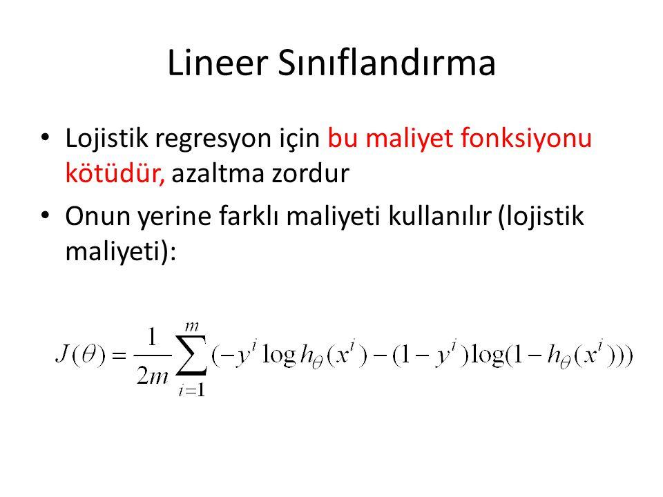 Lineer Sınıflandırma Lojistik regresyon için bu maliyet fonksiyonu kötüdür, azaltma zordur.