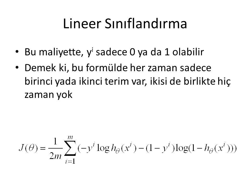 Lineer Sınıflandırma Bu maliyette, yi sadece 0 ya da 1 olabilir