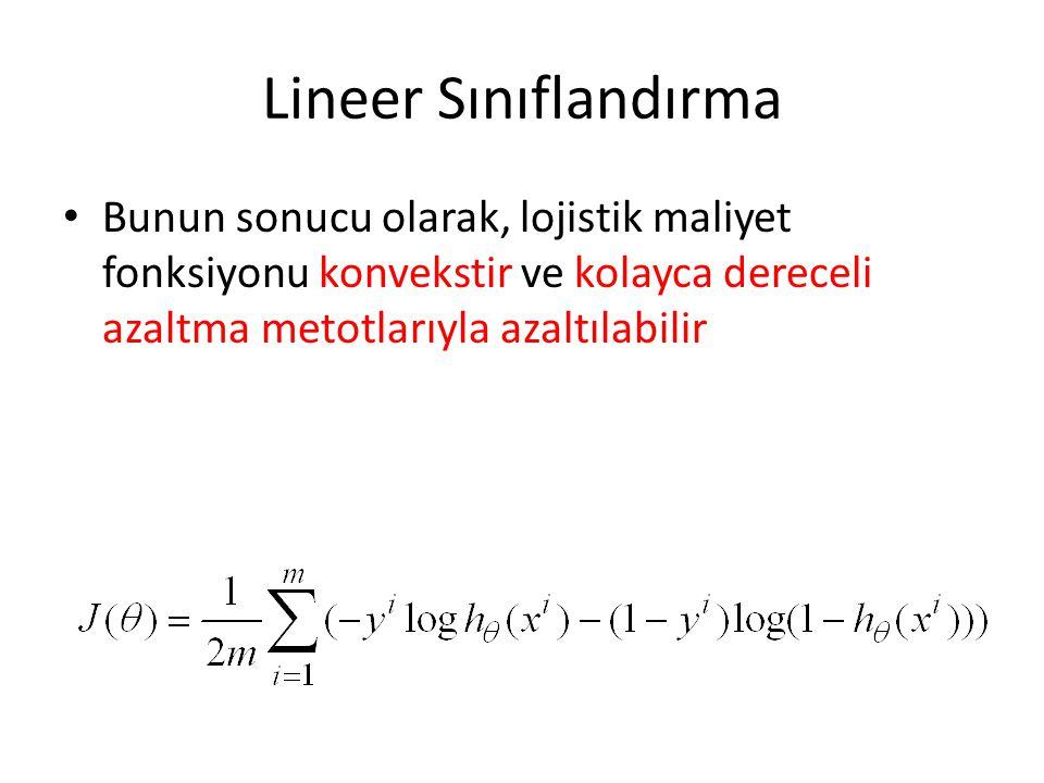 Lineer Sınıflandırma Bunun sonucu olarak, lojistik maliyet fonksiyonu konvekstir ve kolayca dereceli azaltma metotlarıyla azaltılabilir.