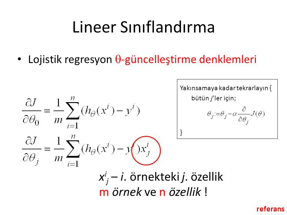 Lineer Sınıflandırma Lojistik regresyon -güncelleştirme denklemleri. Yakınsamaya kadar tekrarlayın {