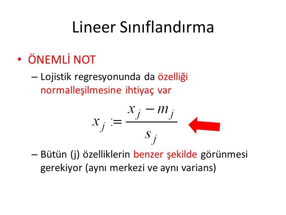 Lineer Sınıflandırma ÖNEMLİ NOT