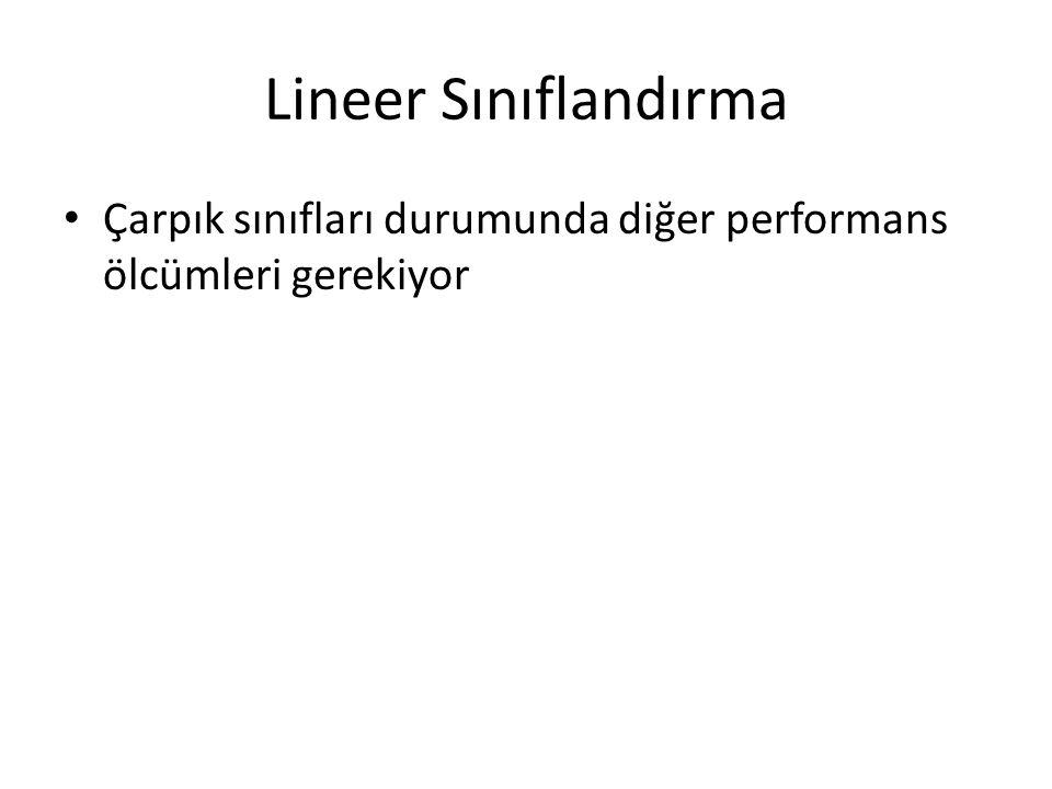 Lineer Sınıflandırma Çarpık sınıfları durumunda diğer performans ölcümleri gerekiyor