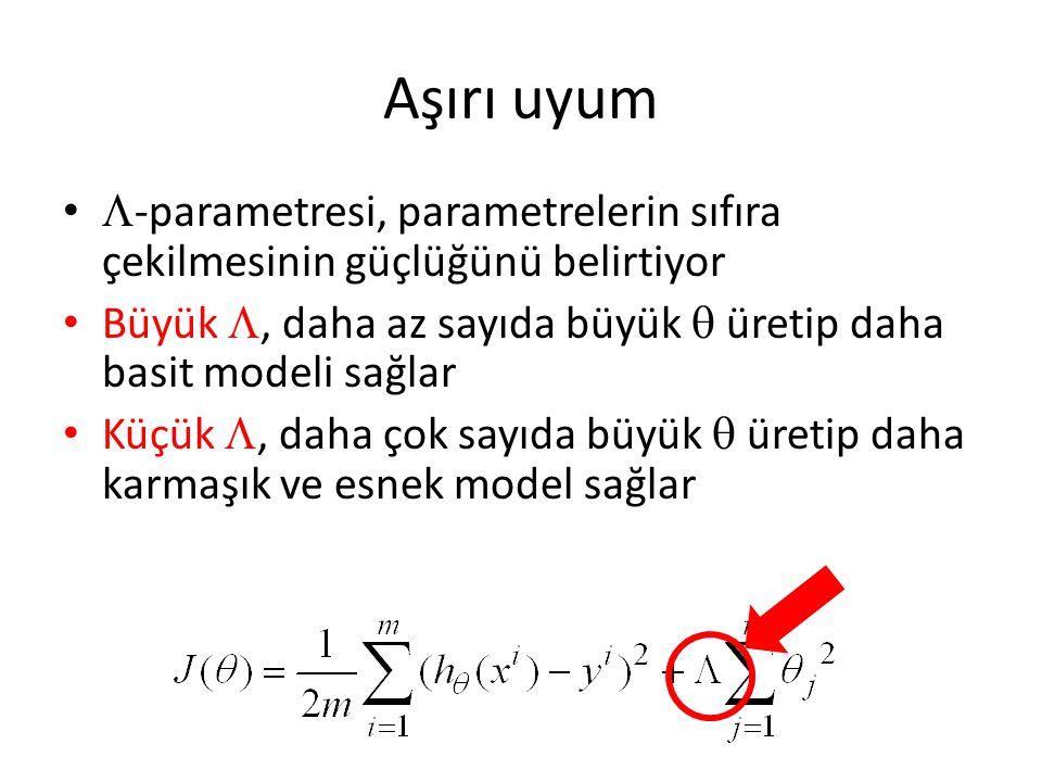 Aşırı uyum -parametresi, parametrelerin sıfıra çekilmesinin güçlüğünü belirtiyor. Büyük , daha az sayıda büyük  üretip daha basit modeli sağlar.