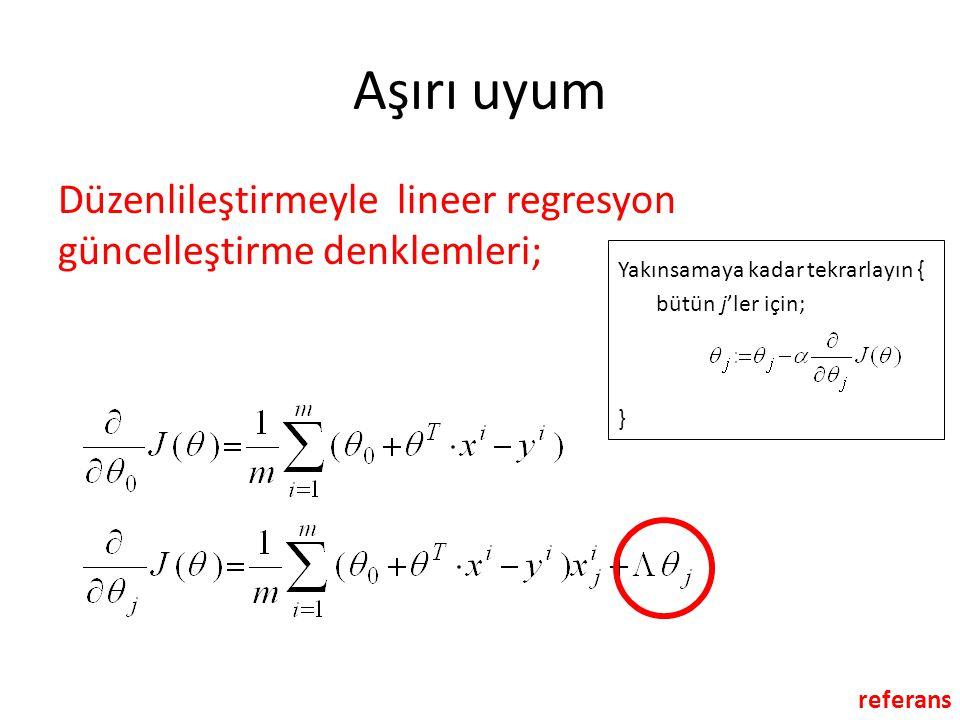 Aşırı uyum Düzenlileştirmeyle lineer regresyon güncelleştirme denklemleri; Yakınsamaya kadar tekrarlayın {