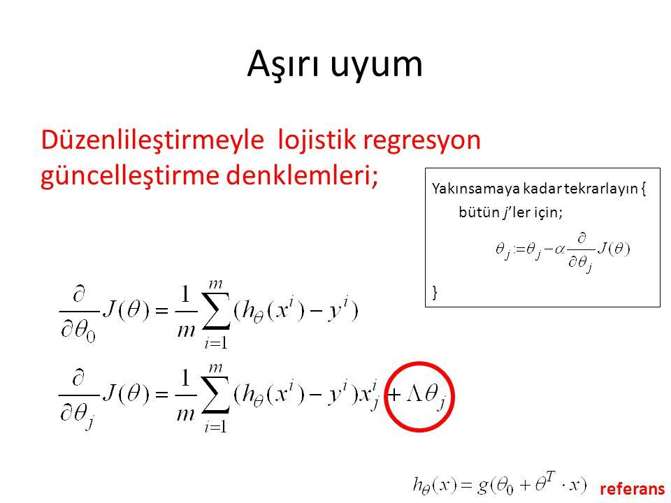 Aşırı uyum Düzenlileştirmeyle lojistik regresyon güncelleştirme denklemleri; Yakınsamaya kadar tekrarlayın {