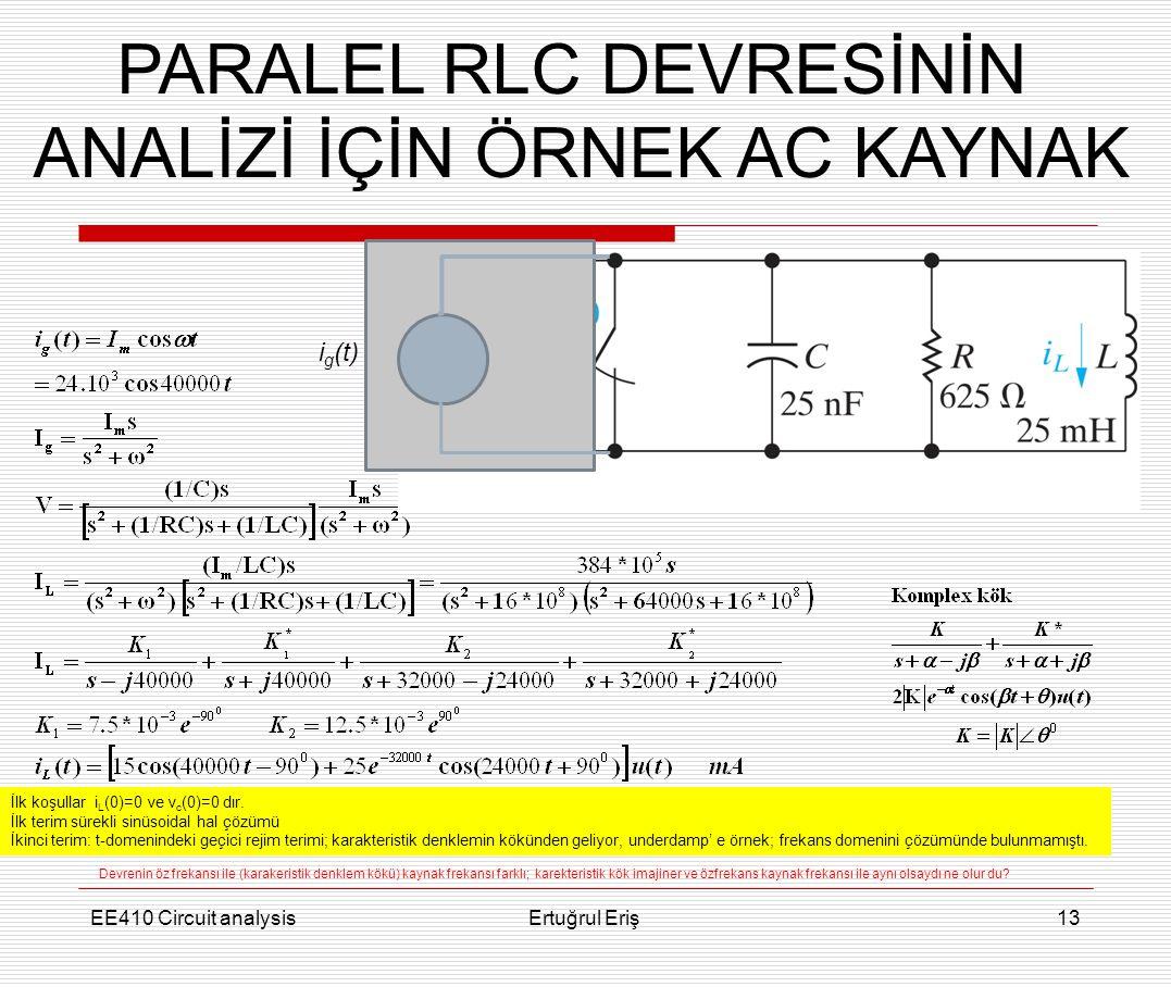 PARALEL RLC DEVRESİNİN ANALİZİ İÇİN ÖRNEK AC KAYNAK