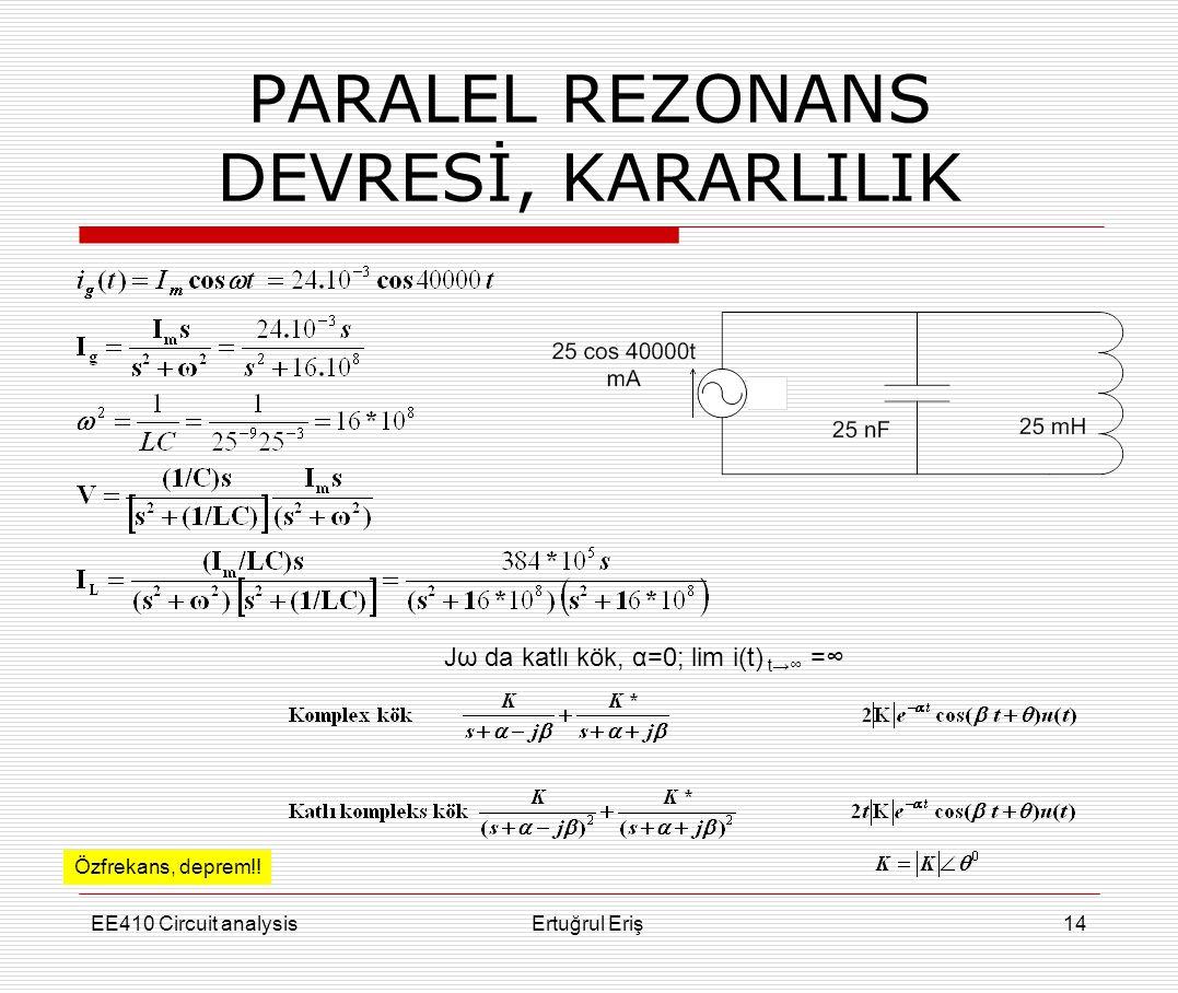 PARALEL REZONANS DEVRESİ, KARARLILIK
