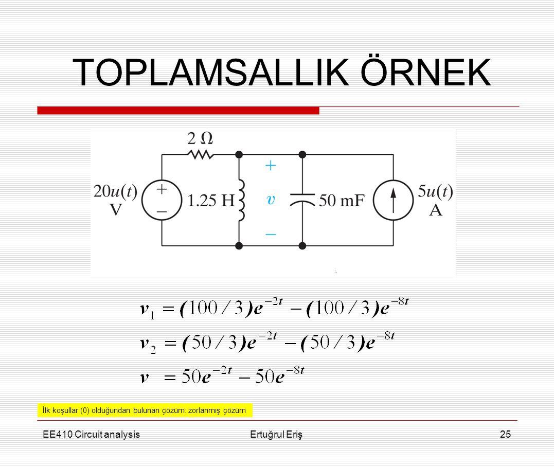 TOPLAMSALLIK ÖRNEK EE410 Circuit analysis Ertuğrul Eriş