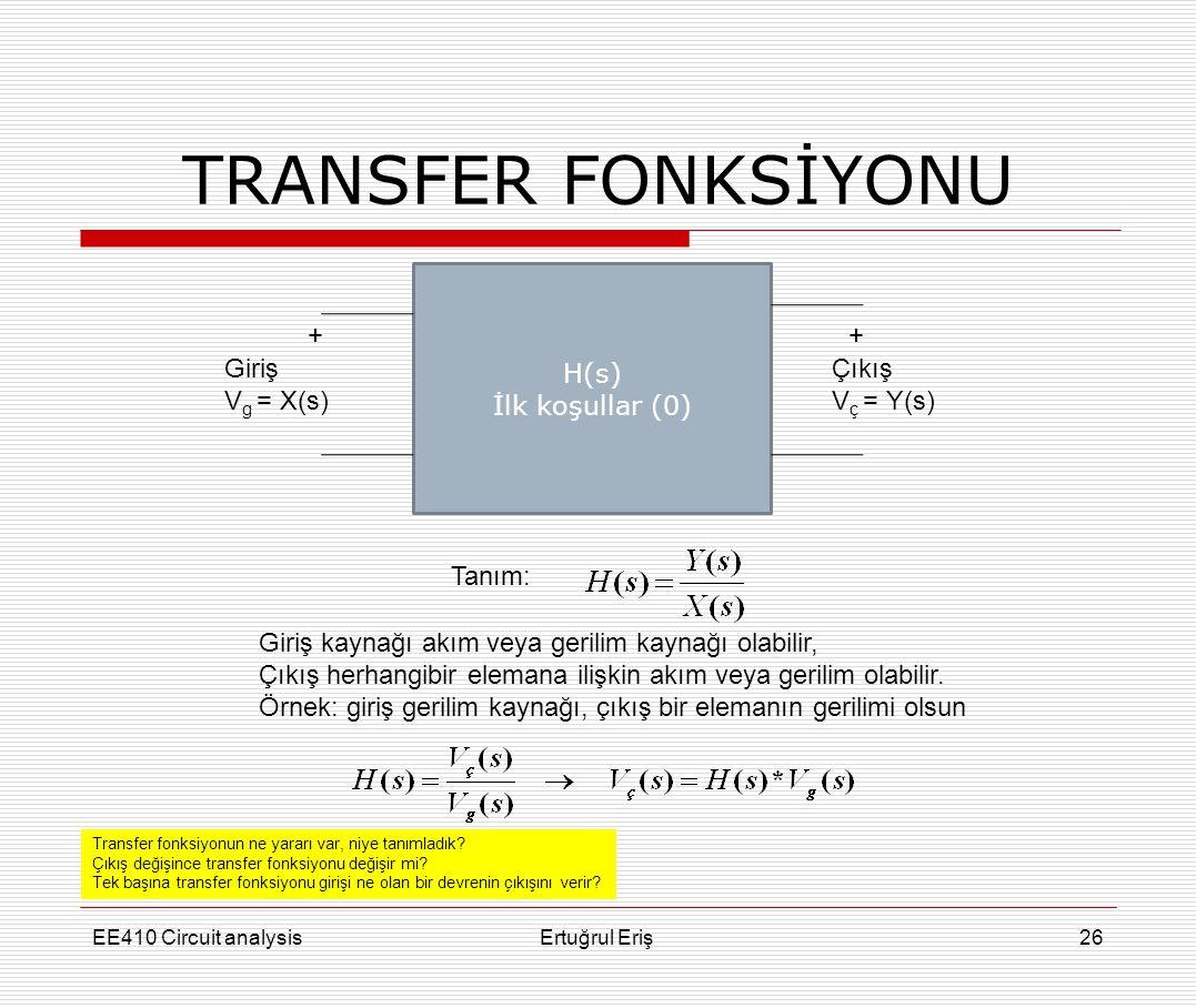 TRANSFER FONKSİYONU H(s) İlk koşullar (0) + + Giriş Vg = X(s) Çıkış