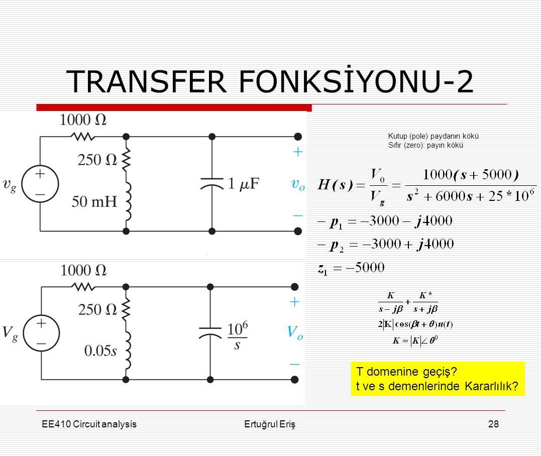 TRANSFER FONKSİYONU-2 T domenine geçiş
