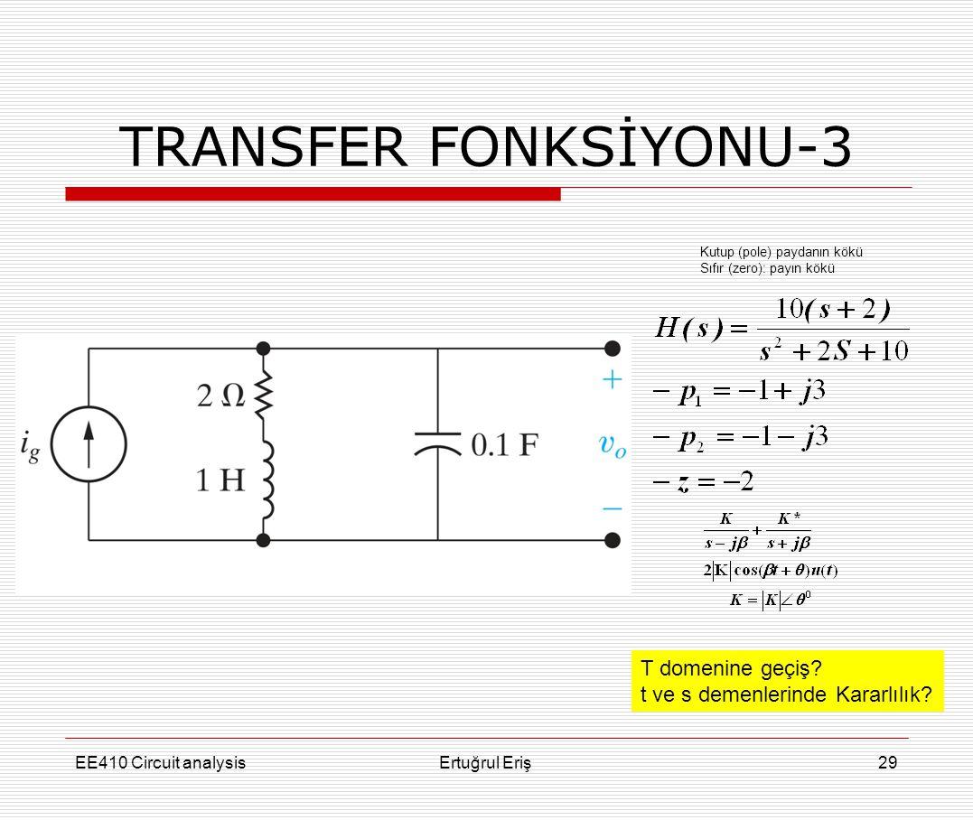 TRANSFER FONKSİYONU-3 T domenine geçiş