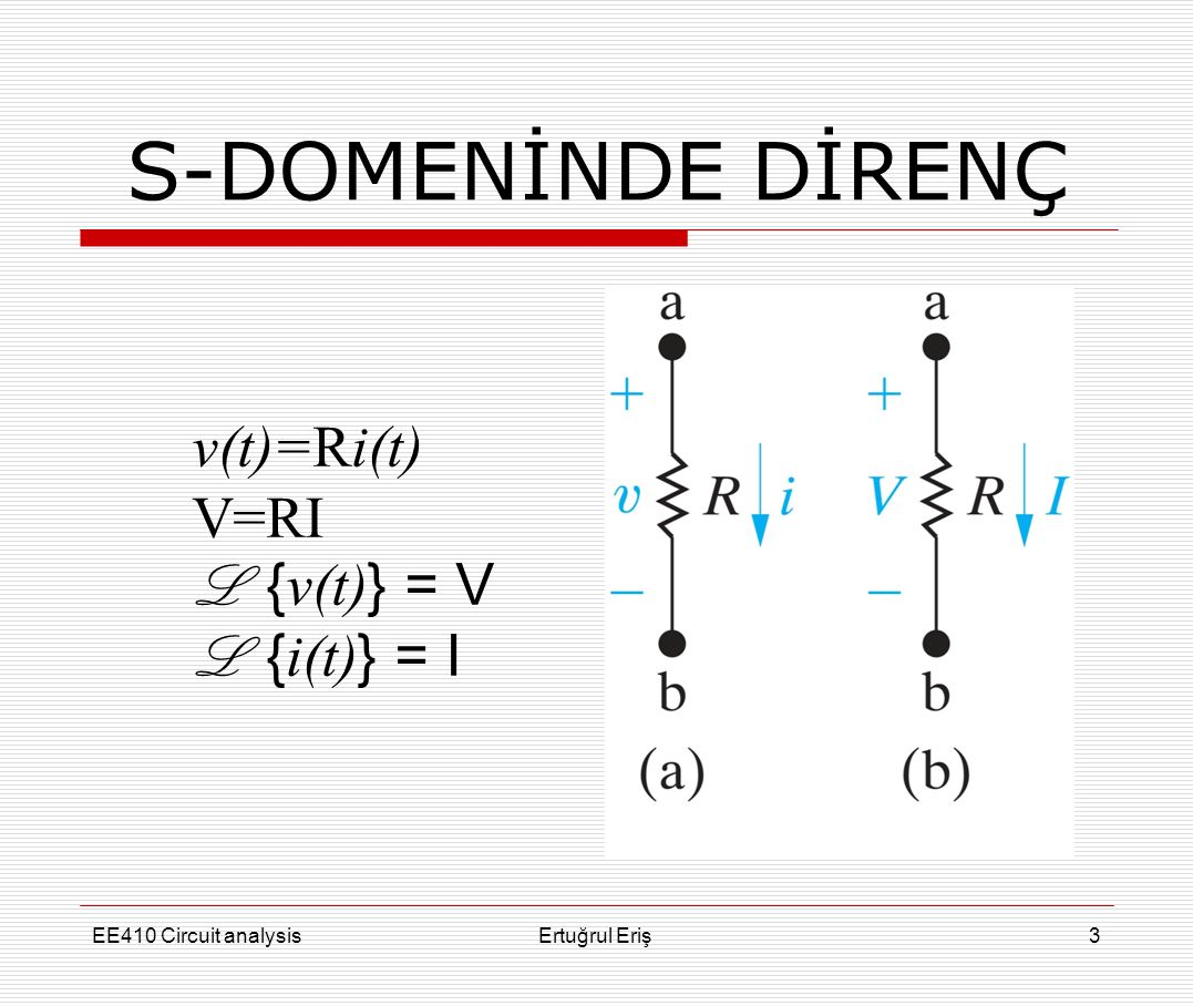 S-DOMENİNDE DİRENÇ v(t)=Ri(t) V=RI L {v(t)} = V L {i(t)} = I