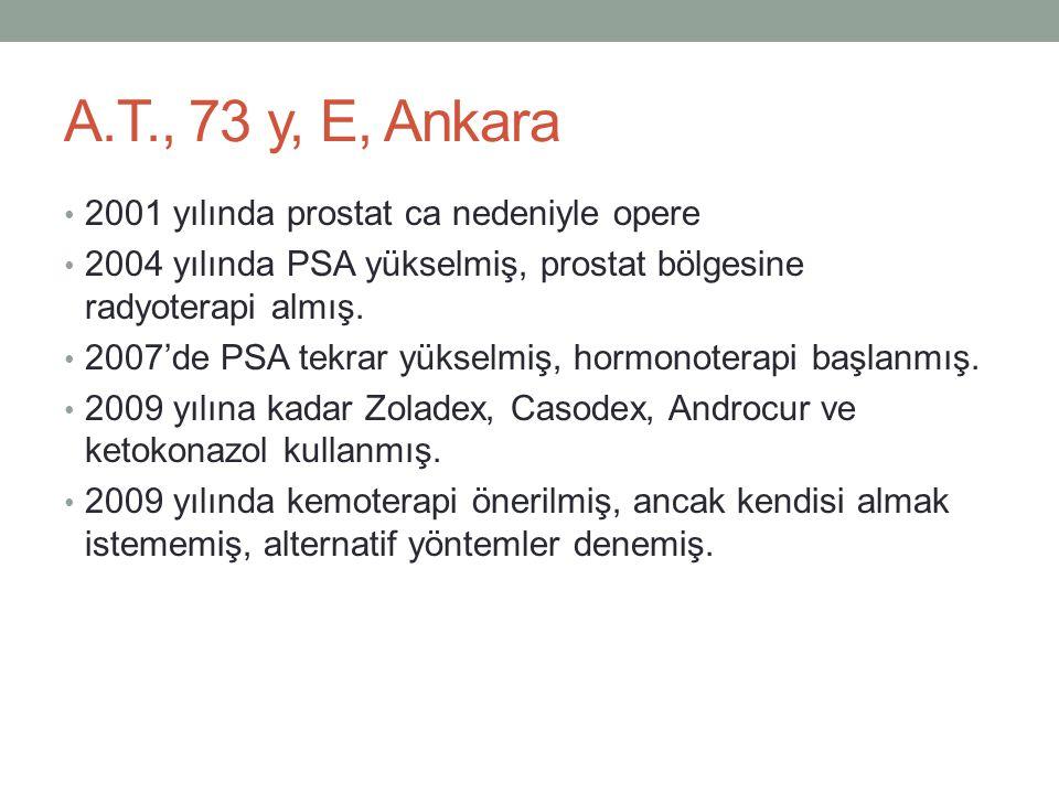 A.T., 73 y, E, Ankara 2001 yılında prostat ca nedeniyle opere