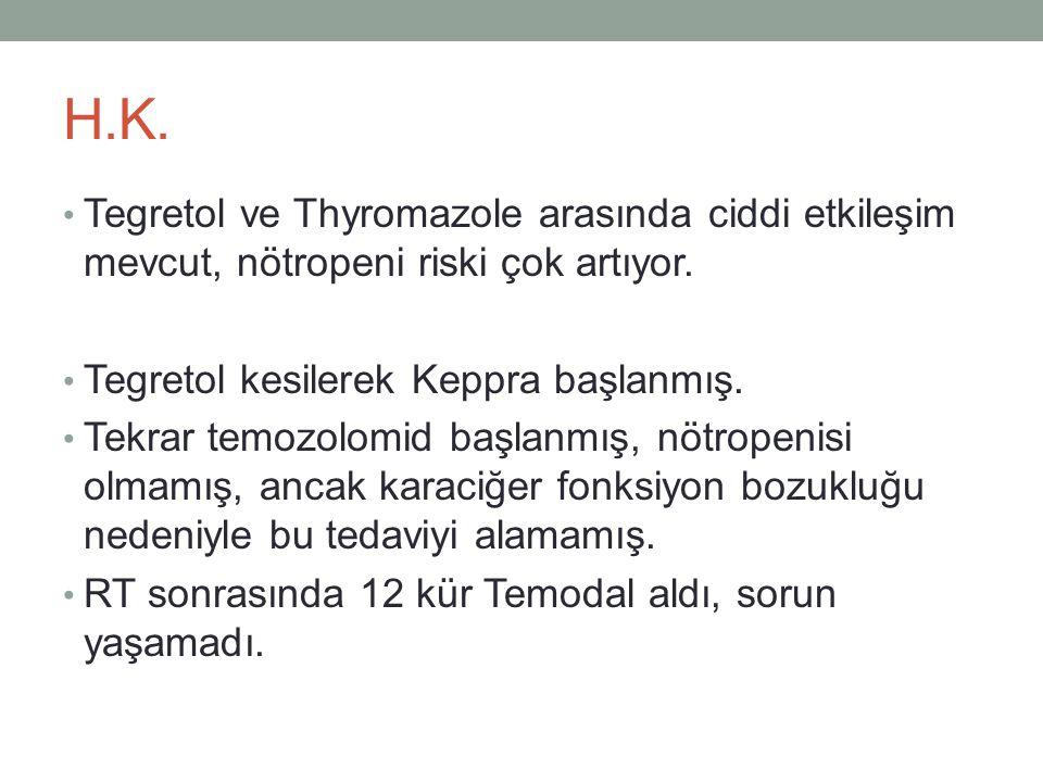 H.K. Tegretol ve Thyromazole arasında ciddi etkileşim mevcut, nötropeni riski çok artıyor. Tegretol kesilerek Keppra başlanmış.