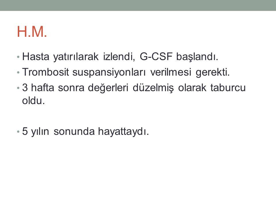 H.M. Hasta yatırılarak izlendi, G-CSF başlandı.