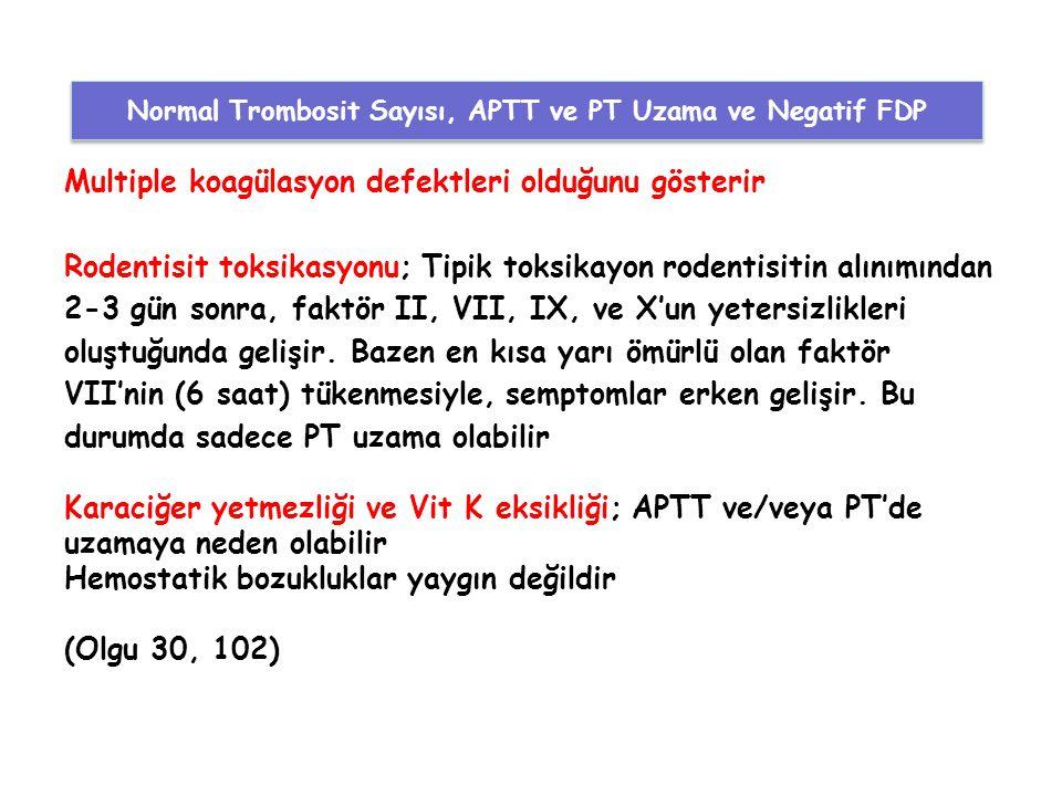 Normal Trombosit Sayısı, APTT ve PT Uzama ve Negatif FDP
