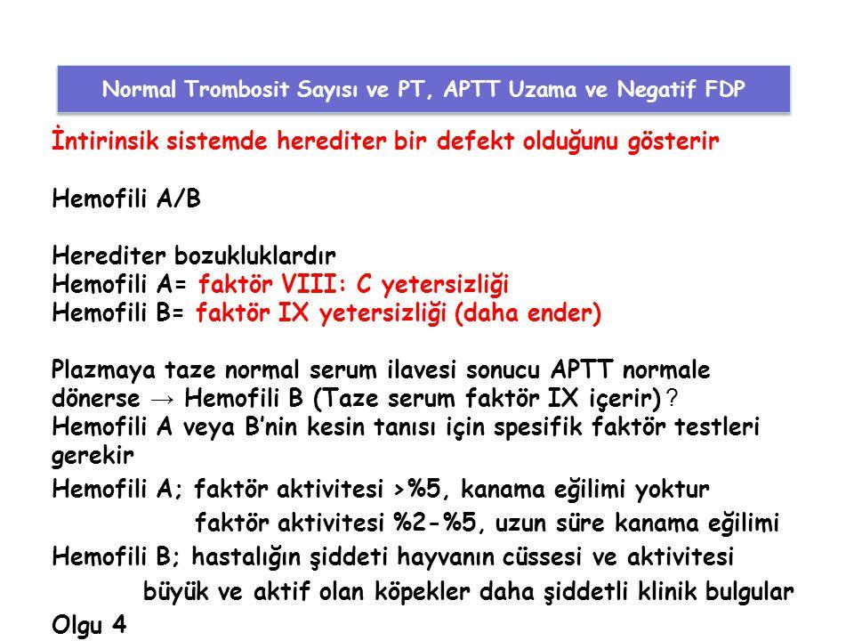 Normal Trombosit Sayısı ve PT, APTT Uzama ve Negatif FDP