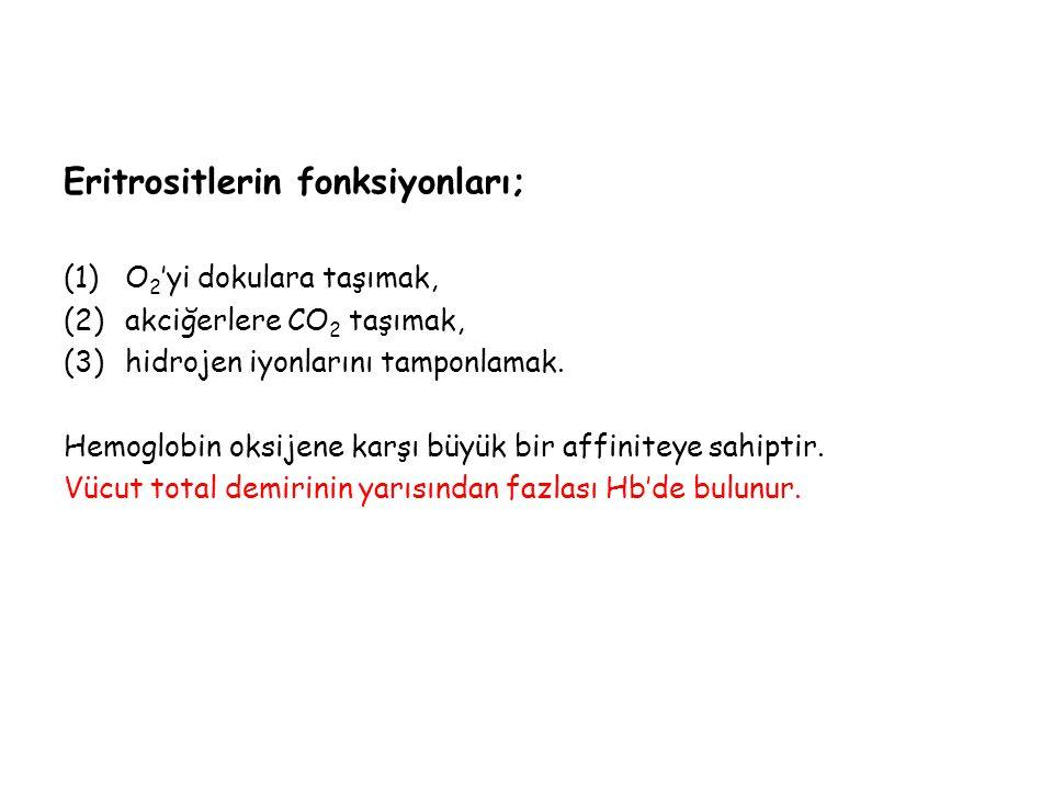 Eritrositlerin fonksiyonları;