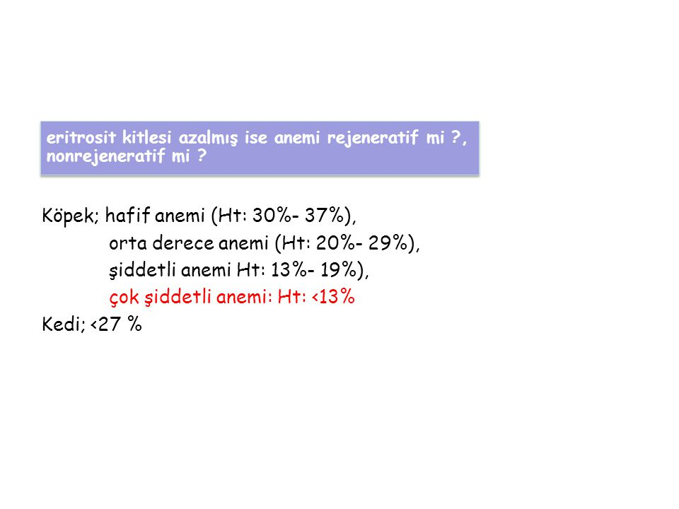 Köpek; hafif anemi (Ht: 30%- 37%), orta derece anemi (Ht: 20%- 29%),