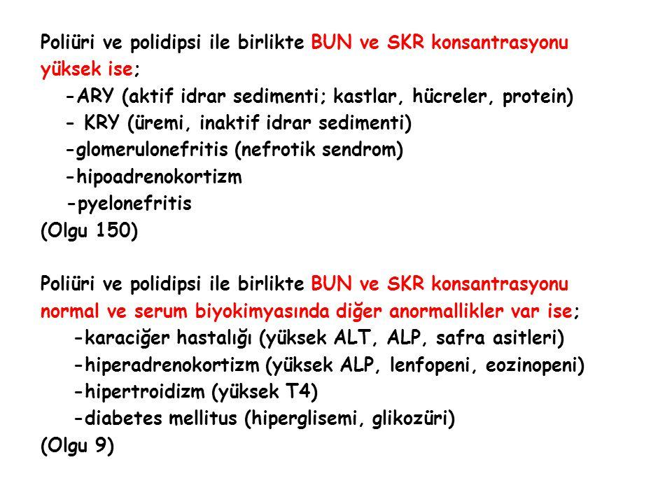 Poliüri ve polidipsi ile birlikte BUN ve SKR konsantrasyonu