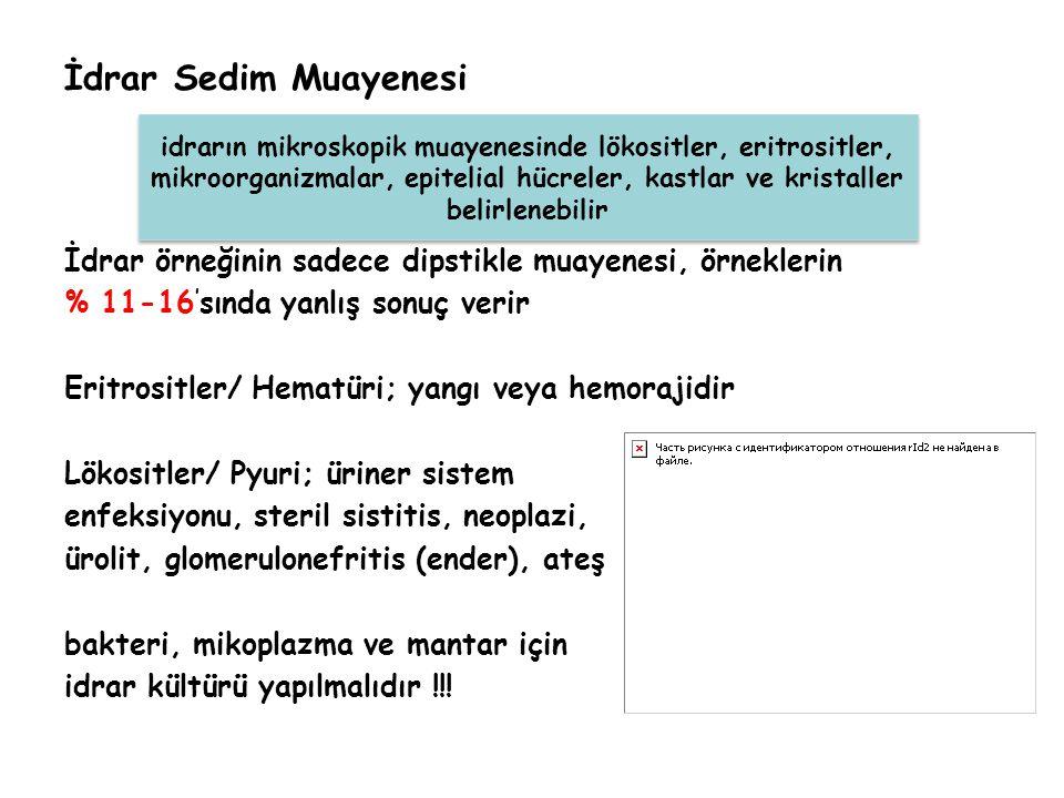 İdrar Sedim Muayenesi İdrar örneğinin sadece dipstikle muayenesi, örneklerin. % 11-16'sında yanlış sonuç verir.