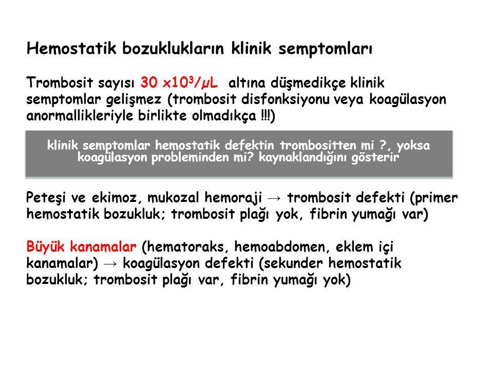 Hemostatik bozuklukların klinik semptomları