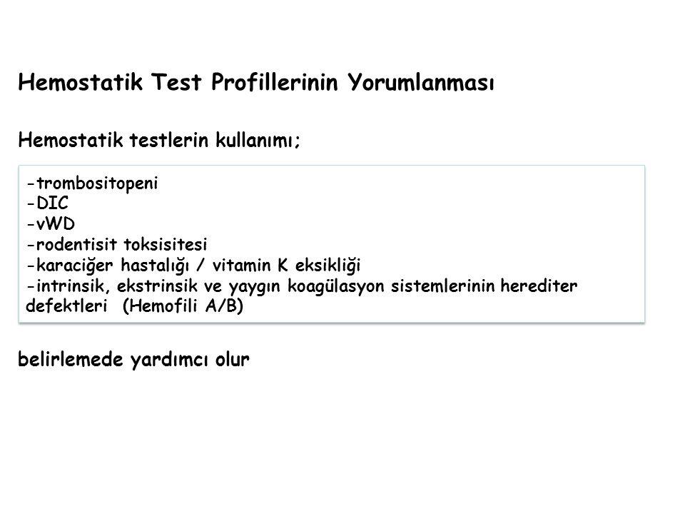 Hemostatik Test Profillerinin Yorumlanması