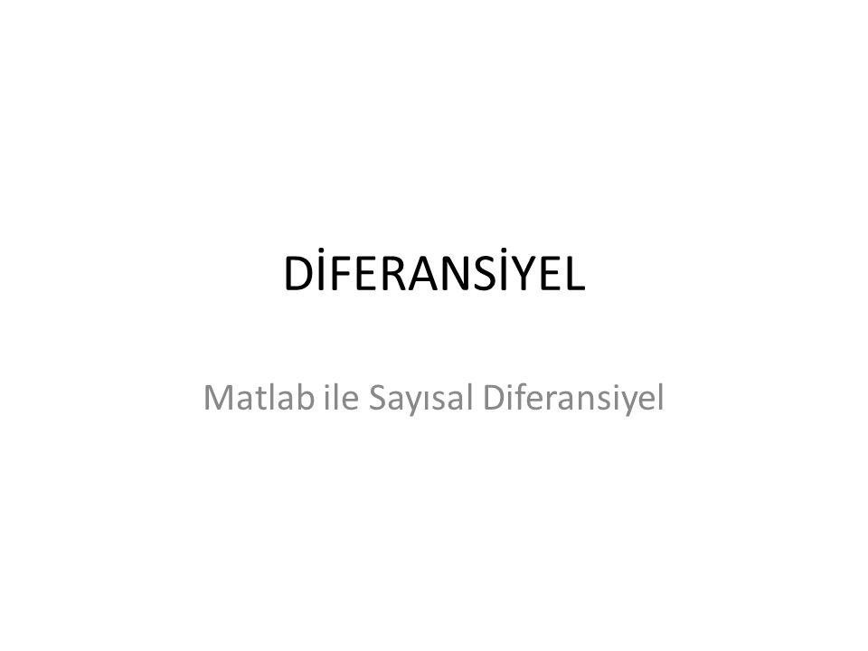 Matlab ile Sayısal Diferansiyel