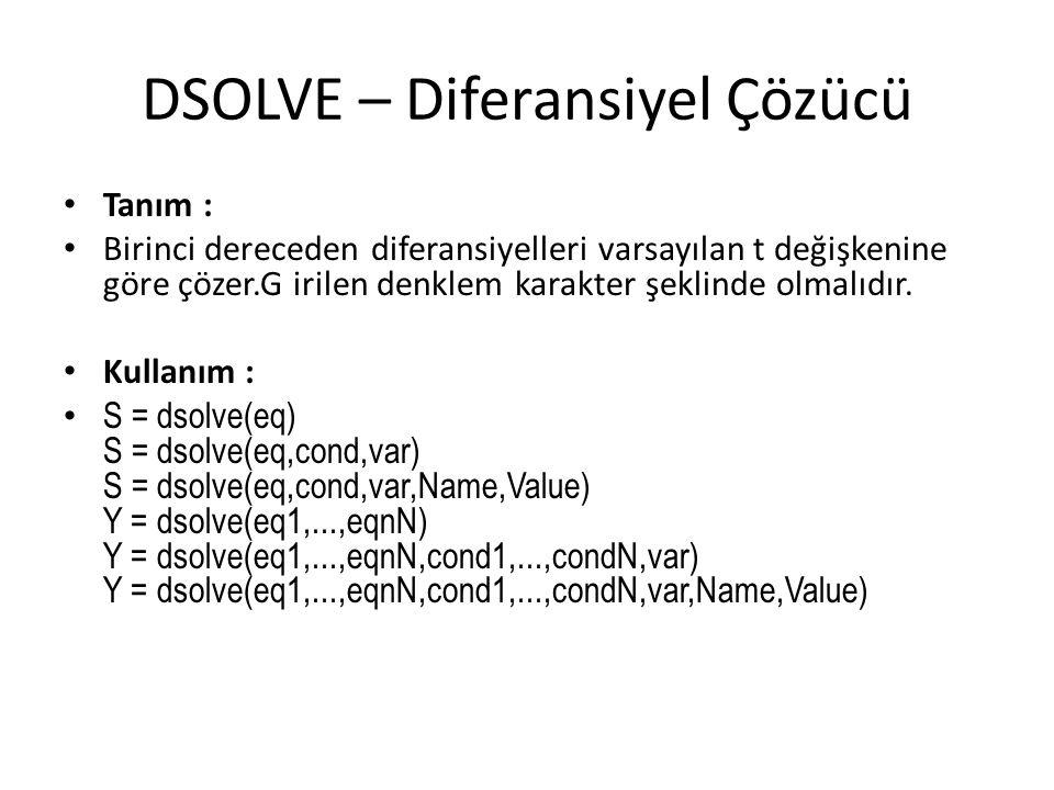 DSOLVE – Diferansiyel Çözücü