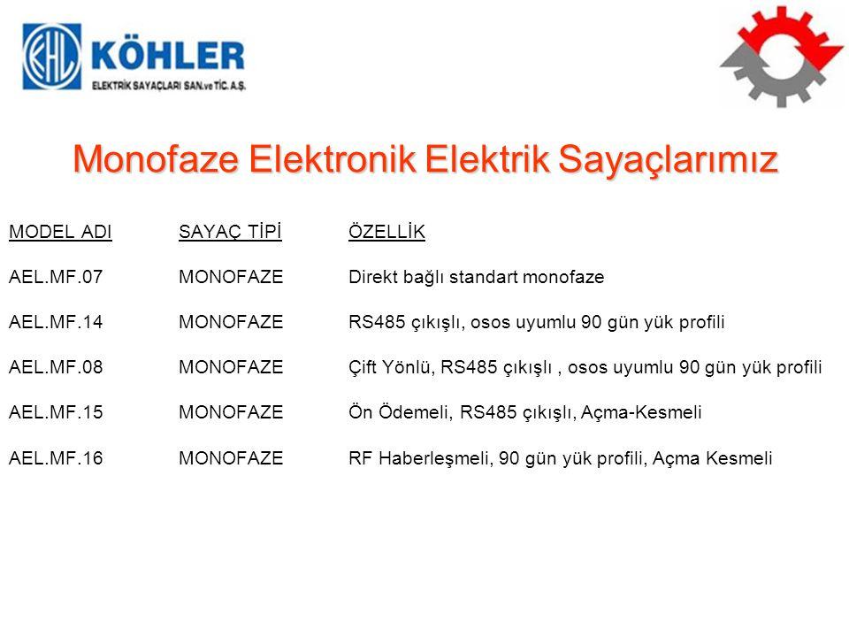 Monofaze Elektronik Elektrik Sayaçlarımız