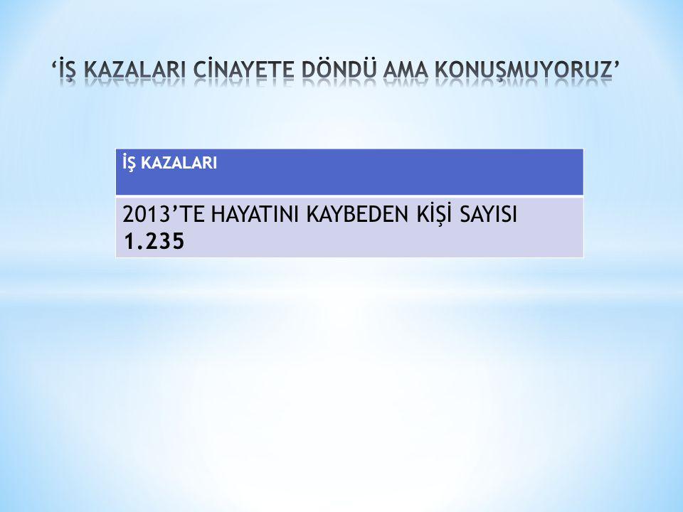 'İŞ KAZALARI CİNAYETE DÖNDÜ AMA KONUŞMUYORUZ'