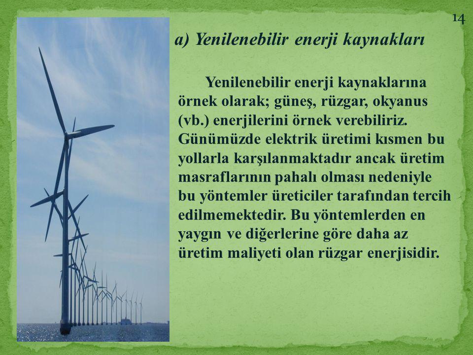 a) Yenilenebilir enerji kaynakları