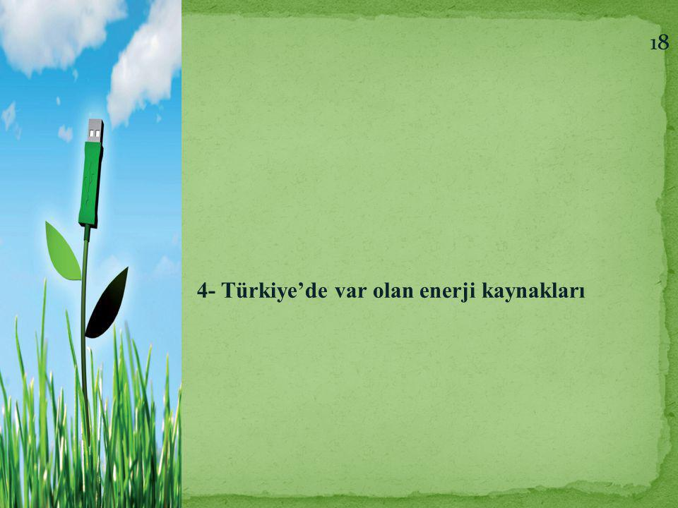 18 4- Türkiye'de var olan enerji kaynakları