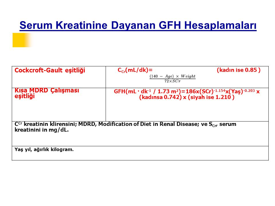 Serum Kreatinine Dayanan GFH Hesaplamaları